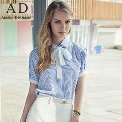 艾尚臣 - 領系帶條紋襯衫/鉛筆裙