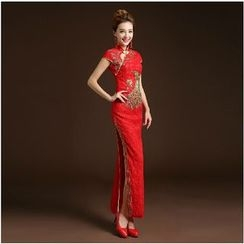 Posh Bride - Cap-Sleeve Embroidered Lace Wedding Cheongsam