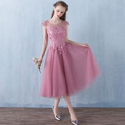 Shannair - Lace Panel Sleeveless Midi Prom Dress