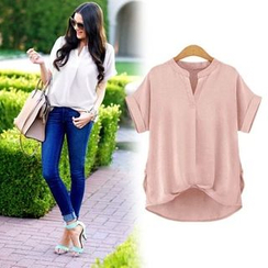 VIZZI - Notch-Neck Short-Sleeve Blouse
