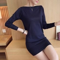 Bubbleknot - Long-Sleeve Sheath Knit Dress