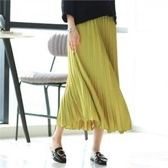 PIPPIN - Pleated Satin Long Skirt
