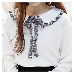 Sechuna - Frilled-Collar Beribboned Top