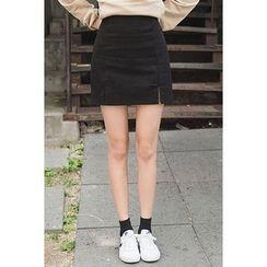 migunstyle - Band-Waist Slit-Front Skirt