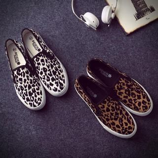 Solejoy - Canvas Leopard-Print Slip-Ons