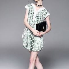 Alaroo - Printed Split Neck Sleeveless Tie Waist Dress