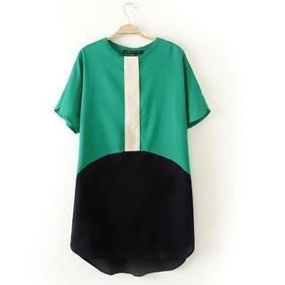 JVL - Short-Sleeve Contrast-Color Panel Dress