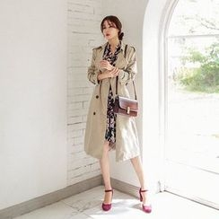 Seoul Fashion - Double-Breasted Flap-Front Trench Coat With Belt