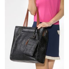 59 Seconds - Croc-Grain Tote with Pouch