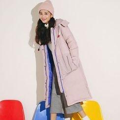 Ashlee - 拼色连帽长款夹棉外套