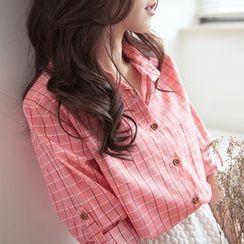 Rocho - 扣帶袖格子襯衫
