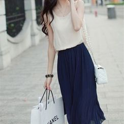 Doyle - 假兩件無袖圓領褶皺雪紡百褶純色背心裙
