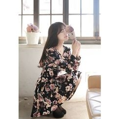 MyFiona - Long-Sleeve Flared Floral Print Dress