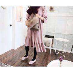MARSHMALLOW - Ruffled Asymmetric-Hem Midi Dress
