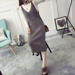 Qimi - V領吊帶針織連衣裙