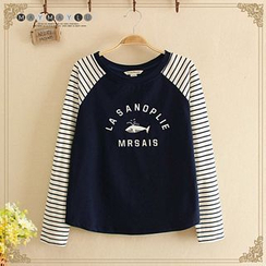 Maymaylu Dreams - Long-Sleeve Striped Print T-Shirt