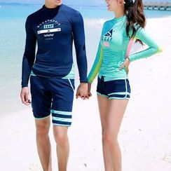 Roseate - Couple Matching Color Block Rashguard