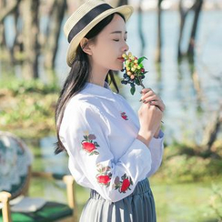 Sens Collection - Flower Embroidered Shirt