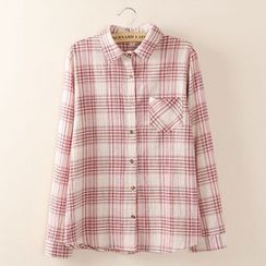 Tangi - Plaid Long-Sleeve Blouse