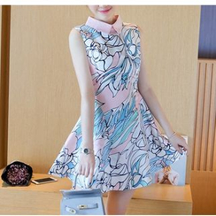 Dowisi - Print Sleeveless Collared A-line Dress