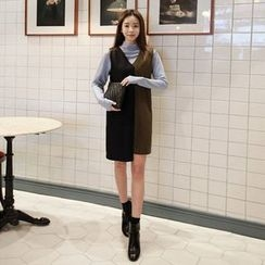 Seoul Fashion - Sleeveless Color-Block Wool Blend Dress