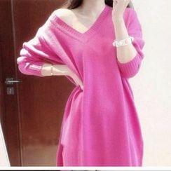 Cotton Candy - V-neck Long-Sleeve Knit Dress