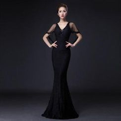 Posh Bride - Inset Capelet Mermaid Evening Gown