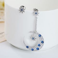 Crystal Midsummer - Non-matching Rhinestone Star and Moon Sterling Silver Earrings