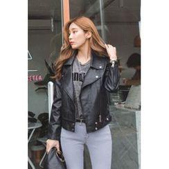 migunstyle - Zip-Detail Faux-Leather Jacket