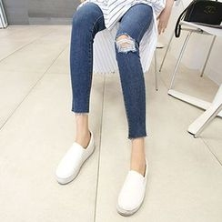 MARSHMALLOW - Maternity Fray-Hem Distressed Jeans