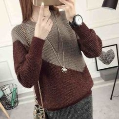 anzoveve - Two-Tone Thick Sweater