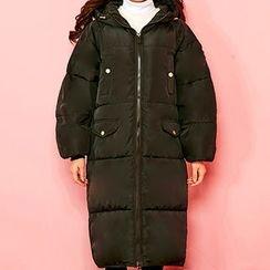 chuu - Hooded Zip-Up Long Puffer Coat