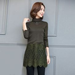 Lovebirds - Lace-Panel Long-Sleeve Top