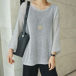 STYLEBYYAM - Drop-Shoulder Sheer Knit Top