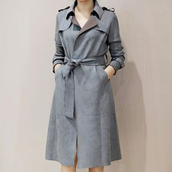 Ashlee - Faux Suede Tie Waist Trench Jacket