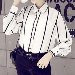 Eva Fashion - Striped Chiffon Shirt