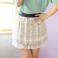 Tokyo Fashion - Bow-Accent Lace-Trim Floral Skirt