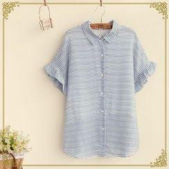Fairyland - Frill Trim Short-Sleeve Striped Shirt