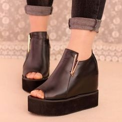 IYATO - Platform Hidden-Heel Peep-Toe Shoes