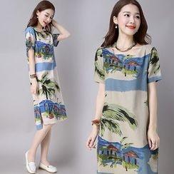Hummingbird - Printed Short Sleeve Midi T-Shirt Dress