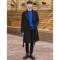 STYLEMAN - Wool-Blend Strap-Waist Long Coat