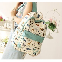 Canvas Love - Animal Patterned Canvas Backpack