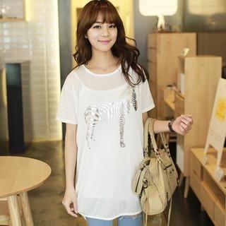 CLICK - Silver Foil Zebra Print T-Shirt