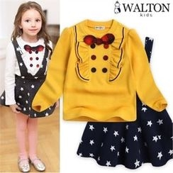 WALTON kids - Girls Set: Beribboned Top + Star Pattern Suspender Dress