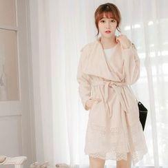 Tokyo Fashion - Lace Panel Tie-waist Coat