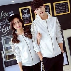 CASSY - Printed Zip Couple Matching Jacket + Pants