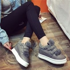 Hipsole - Faux-Fur Trim Velcro Sneakers