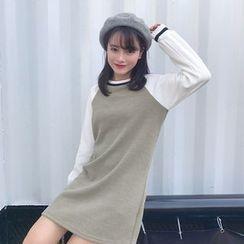 QZ Lady - Long-Sleeve Color Block Pullover Dress