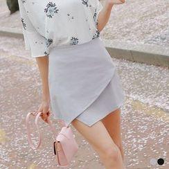 OrangeBear - Asymmetrical Hem A-Line Skirt