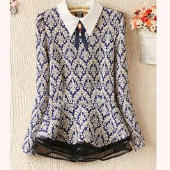 Ringnor - Long-Sleeve Printed Peplum Top